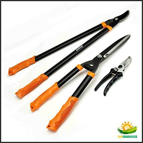 Shenso 3 Piece Combo Garden Tool Set with Lopper Hedge Shears and Pruner Shears Tree  Shrub Care Kit *** More info could be found at the image url.