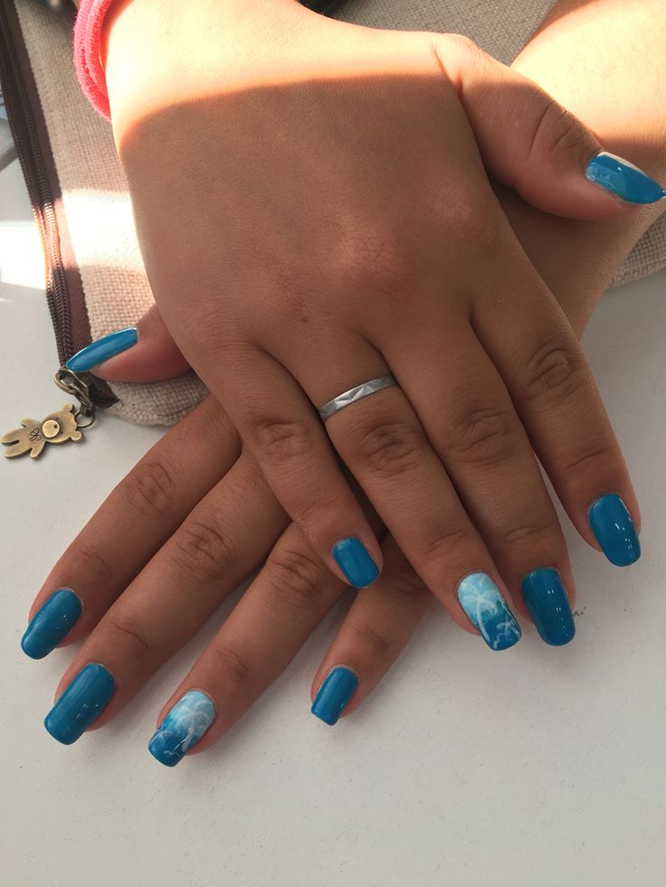 Nails art summer playa beach azul