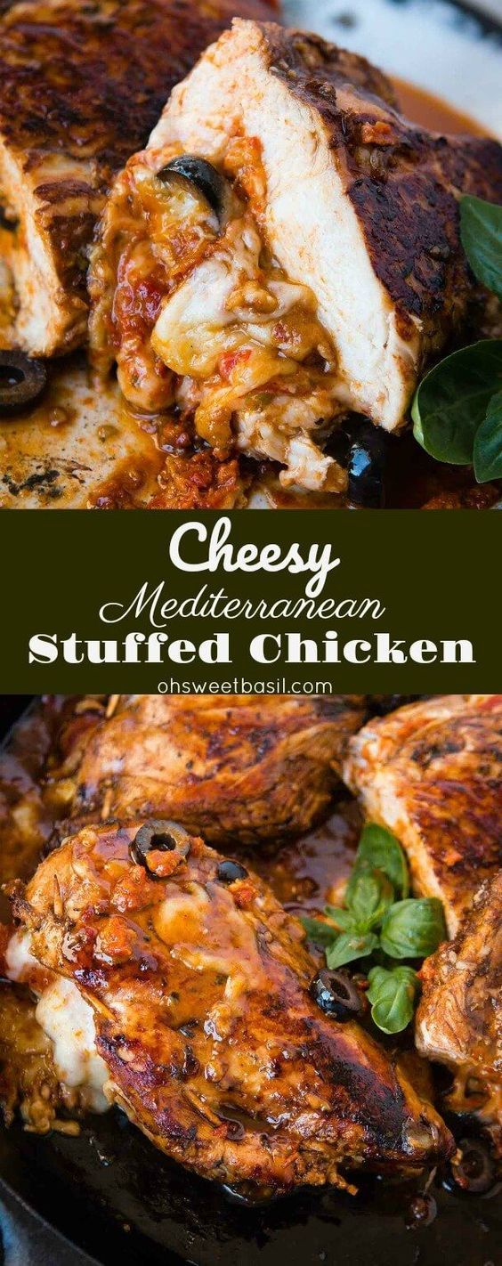 Looking for a quick and easy healthy dinner recipe? We've been loving this Cheesy Stuffed Mediterranean Chicken. It's full of sun dried tomatoes, olives and cheese! This chicken is first put into a delicious balsamic marinade and then stuffed with sun dried tomato pesto, cheese, spinach and olives! via @ohsweetbasil