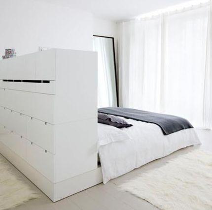 slaapkamer: idee bed in het midden en achterkant van het bed is een omgekeerde kast tot tegen het plafond. Kast dient als kleerkast. Waarachter ook nog deel inloop?
