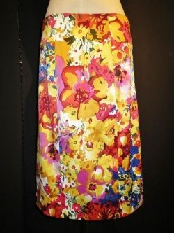 画像1: flower print tight skirt / フラワー プリント 花柄 タイト ミディアム スカート ペンシル 30インチ カラフル ポップ カジュアル モード 原宿 古着 通販 USED アメリカ ヴィンテージ  レディース