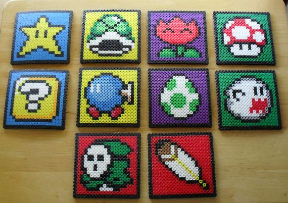 Mario Coaster Sprite Set of 10 van DelightfulEpiphany op Etsy, $40.00