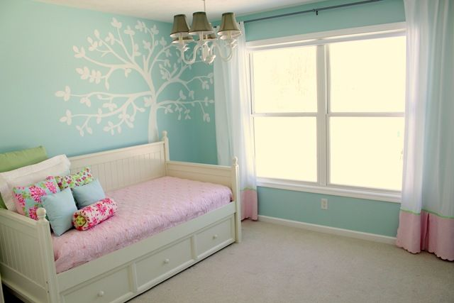 Daybed for baby's room?  Walls, bed, drapes are all simple and gorgeous.  White stencil on colored wall is fresh and crisp.  #white #nursery