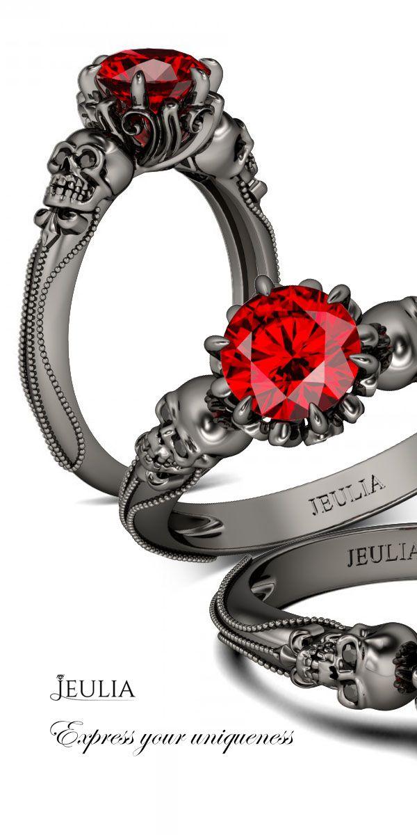 Jeulia Two Skull Milgrain Round Cut Ruby Skull Ring #Jeulia