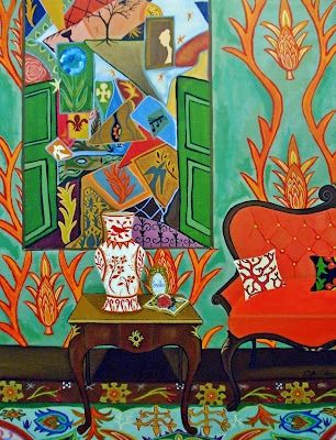 Flood Gates interior colorful patterns, painting by artist Catherine Nolin
