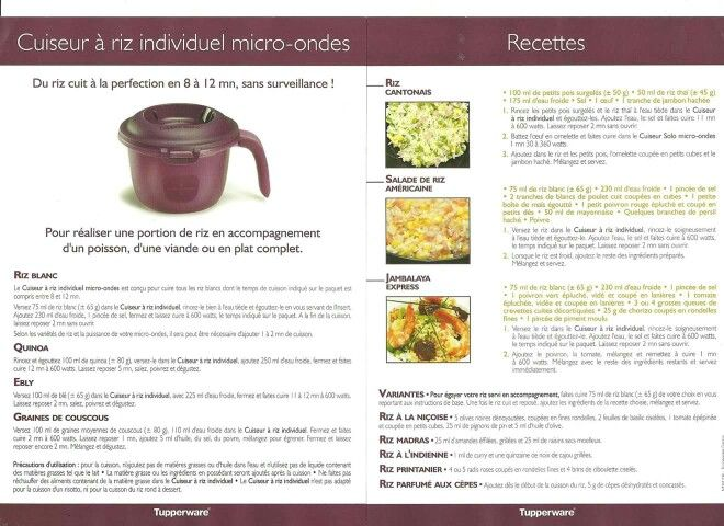 Fiche recette cuiseur à riz individuel - Tupperware : Riz cantonais, Salade de riz américaine, Jambalaya express