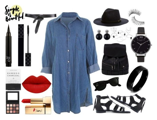 Touch of denim by leandra-rebecca on Polyvore featuring polyvore, mode, style, Olivia Burton, West Coast Jewelry, Ray-Ban, Étoile Isabel Marant, Yves Saint Laurent, Gucci, Trish McEvoy, Herbivore, fashion and clothing