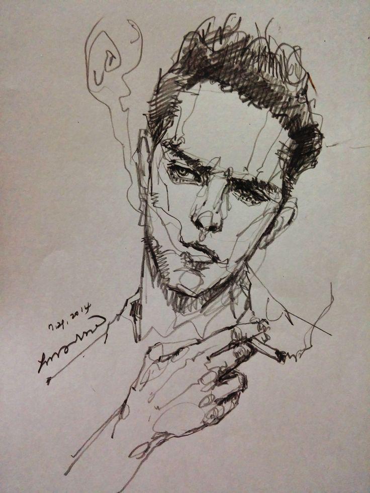 areasdrawing:  Always great model Smoking man. http://facebook.com/aressgallery