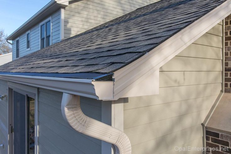 GAF Timbertex HD Roofing Shingles With Raindrop Gutter Guards | GAF Master  Elite Roofs | Pinterest
