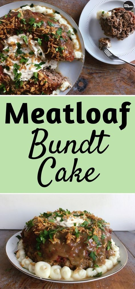 Spiced with Creole seasoning, garlic powder, and butter-coated vegetables, this meatloaf recipe finds it's home in a bundt pan. This traditional recipe truly takes the cake and will be at the center of attention at any dinner party. We finished our tomato-glazed meatloaf bundt with a drizzle of gravy, freshly piped mashed potatoes, crispy onions, and a sprinkle of finely chopped fresh parsley. | MyRecipes