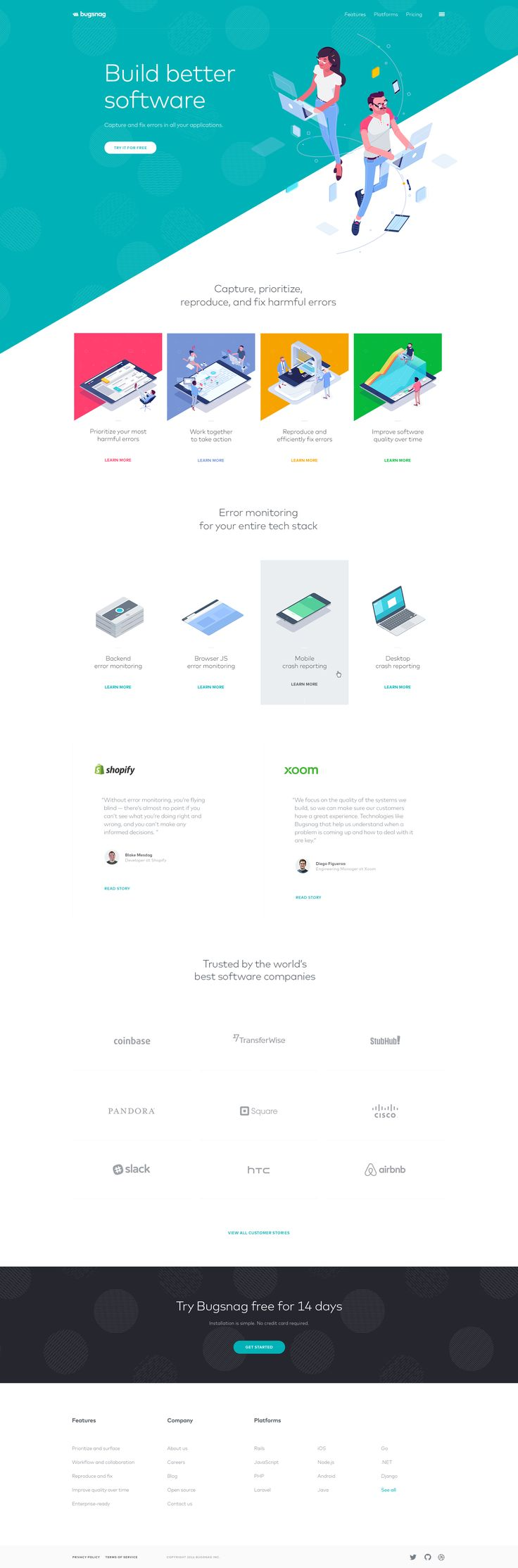 Bugsnag - Ui design concept for new website, by UENO.