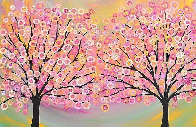 Hand-painted Abstract Oil Painting - Two Trees in Gold Pink