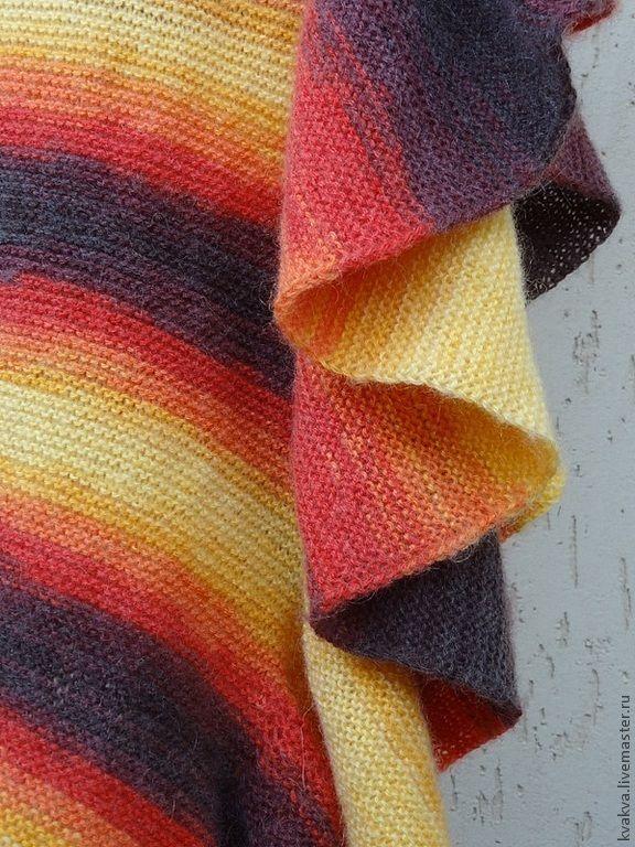 Купить шарф для ЯРКОЙ !!! - в полоску, шарф, шаль, коричневый, желтый, оранжевый, шарфик, осень