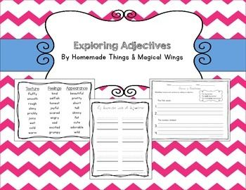 "Exploring Adjectives    These are ready to use worksheets allows your students to practice using adjectives in their writing. Included are adjective example posters organized by category, a blank page for students to write down their favorite adjectives, three ""grow a sentence"" worksheets, and a blank ""grow a sentence"" worksheet."