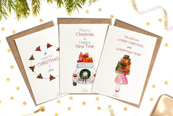 Christmas postcard set Printed Watercolor cards от WhiteWildRose
