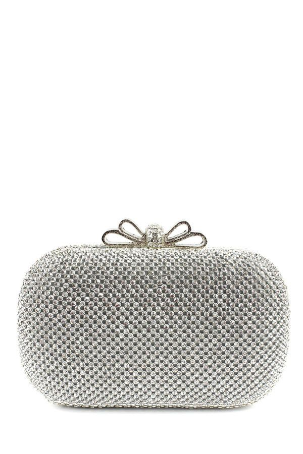 Bow Rhinestone Trimming Evening Bag - SILVER