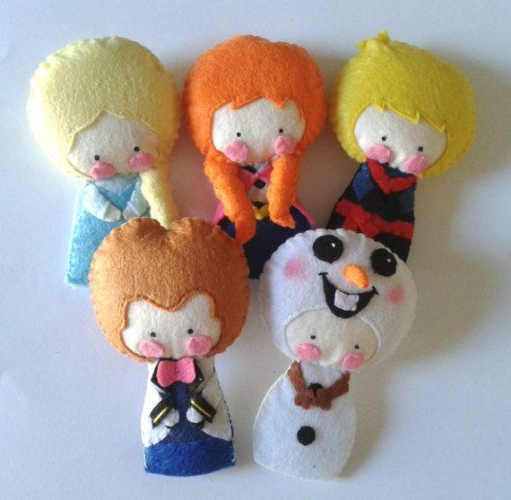 Finger Puppet Pattern - Anna, Elsa, Olaf, Kristoff & Prince Hans