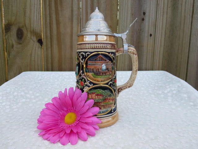 Beer Stein Made in West Germany, Beer Mug, Beer Stein With German Cities, Vintage Beer Stein, Collectible Beer Stein, Vintage Barware by MemaAntiques on Etsy