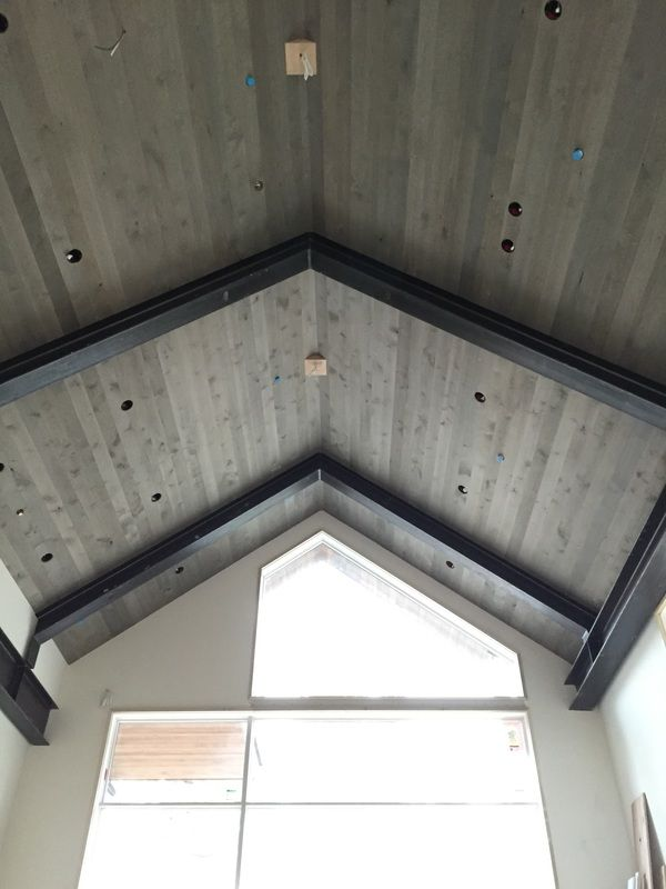 No- it's not barnwood! You can instantly age wood, like this beautiful alder ceiling. One coat of stain and you're done! #weatherwood #barnwood