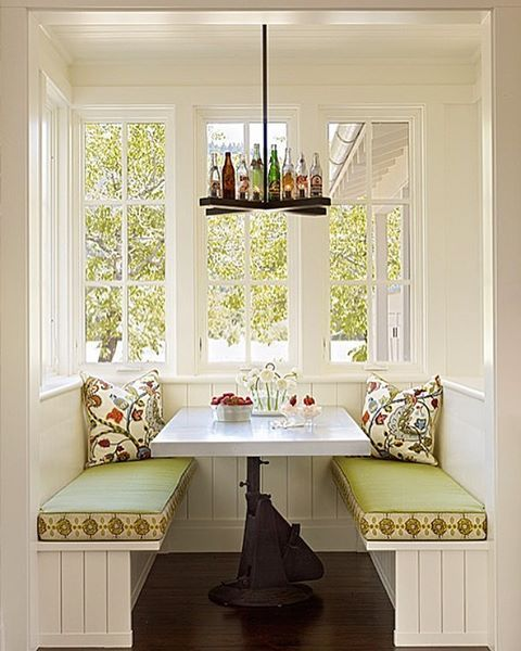 Happy Spring! Love this breakfast nook we created in a modern Napa Valley farmhouse featuring a custom chandelier made from vintage soda pop bottles & a zinc topped table crafted from an old hydraulic lift.
