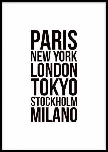 Fashion cities, poster. Textposter med modestäder. Stilren textposter med de främsta fashion week städerna. Enkel att matcha till andra posters och prints, till exempel våra fashion och mode posters eller våra textposters. Denna poster gör sig fin i svart eller vit ram.