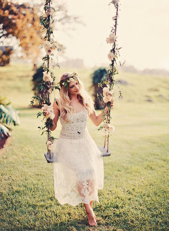 Sheer Embroidered Lace And Crochet Gypsy Wedding Dress By BohoAngels.