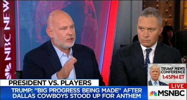 "Appearing during MSNBC's 9 a.m. ET hour on Tuesday, political analyst Steve Schmidt was completely unhinged as he launched into a tirade against President Trump. Outraged over the President's criticism of NFL players disrespecting the National Anthem, Schmidt lashed out with this hysterical declaration: ""And what Donald Trump is doing here is as terrible a thing, and maybe the most terrible thing, that has ever been done to this country by a President of the United States. Despicable doesn't…"