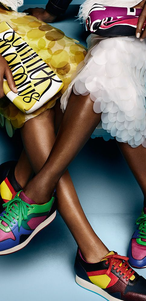 Naomi Campbell and Jourdan Dunn wear Burberry Field Sneaker in vibrant colour contrasts