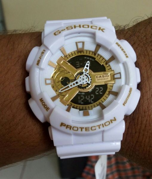 893cff542f5 Relógio Gshock GA 110 Masculino e Feminino Branco e Dourado PRODUTO  IMPORTADO(REPLICA) PRIMEIRA