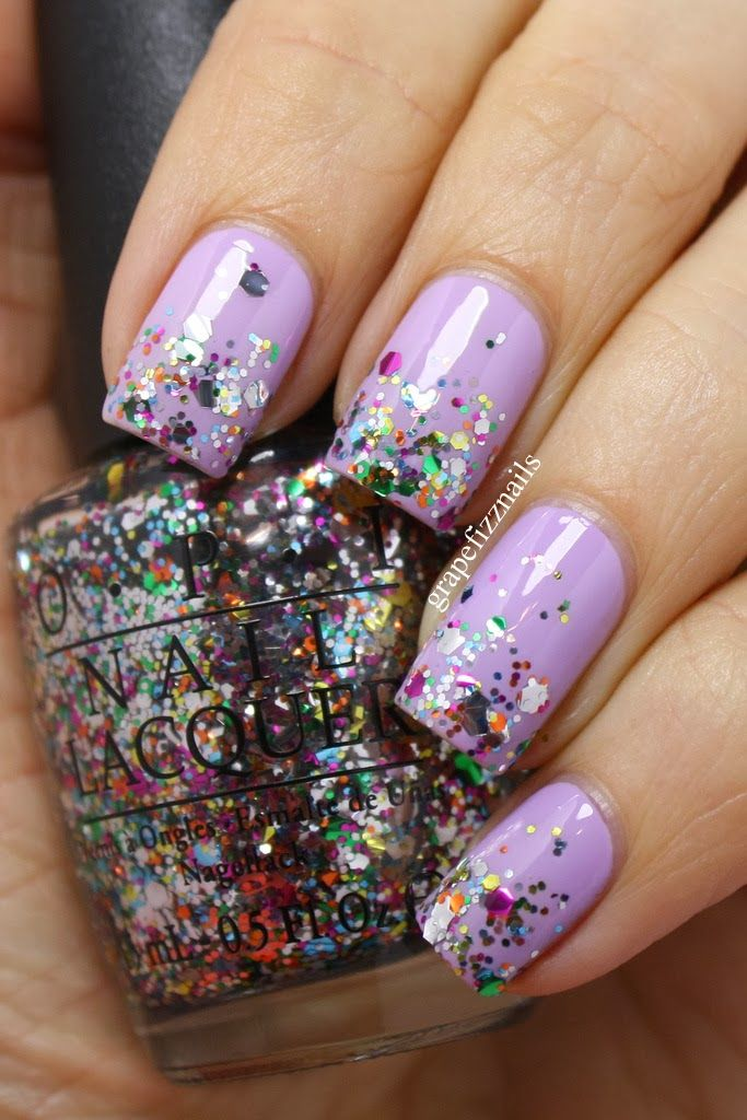 New OPI Glitter Collection, Chasing Rainbows on grape fizz nails blog