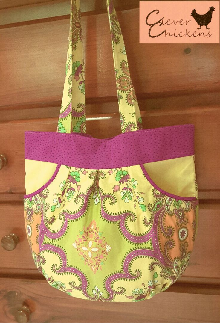 Bag Spring Floral Yellow Pink Pocket Teen Girl Woman Gift by CleverChickens on Etsy