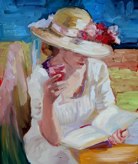 Art by Sally Rosenbaum. A book and a glass of wine......lovely.