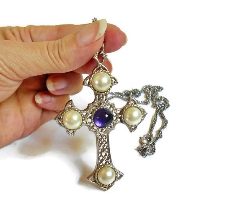 Silver Cross Necklace Vintage Sarah Coventry Jewelry Purple Jewel Faux Pearl Decorative LARGE Statement Pendant, Big Cross Necklace by PrettyShinyThings4U on Etsy #SarahCoventry #Jewelry #Vintage #Designer #Cross #Crucifix #Religious #CrossNecklace