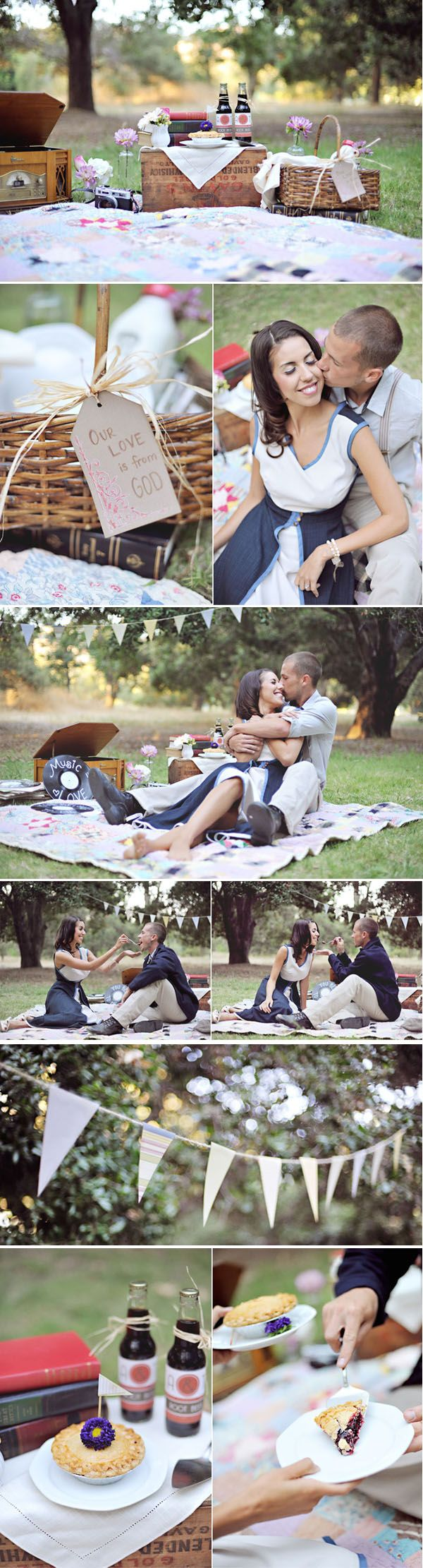 Now this is what you call a themed engagement shoot! picnic basket, blanket, soda & everything! Looks great :)