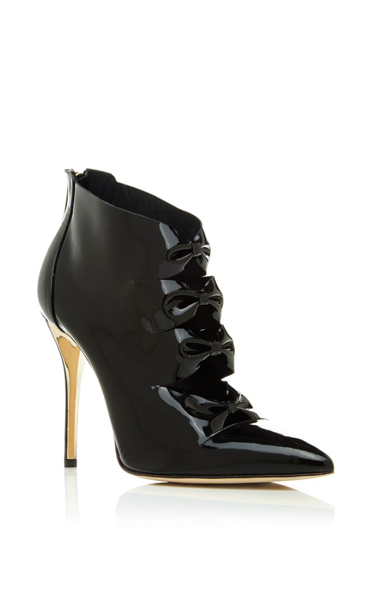 Tobin Bootie In Black Patent Leather by Oscar de la Renta  |  shoes ( booties )