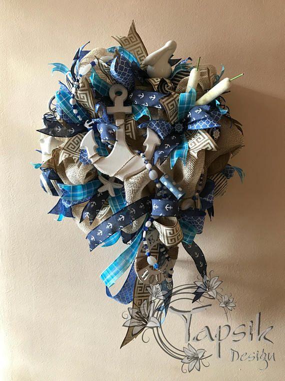 Nautical Summer Wreath Anchor Wreath Burlap Wreath Nautical