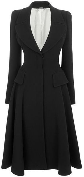 LOVE this Alexander Mcqueen Black Crepe Wool Riding Coat in Black (not that I've got 4,000 bucks lying around to buy one)
