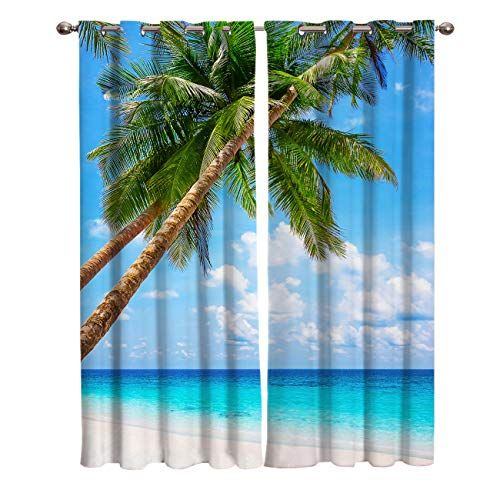 Wanxinfu 2 Panel Kitchen Cafe Curtains Coconut Tree Beach