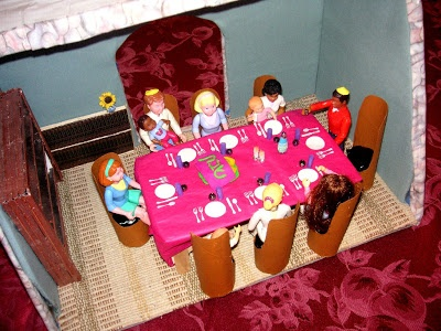 Great tutorial and ideas on how to make a mini dining table play scene for kids. Inexpensive and fun!!