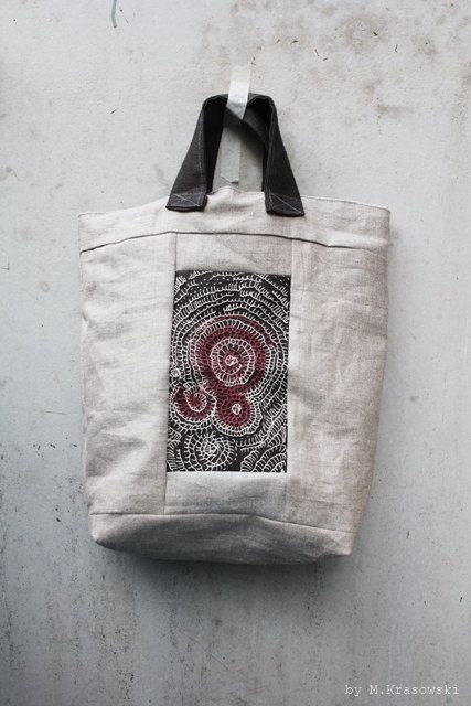 Unique Hand Embroidered Linen Tote Bag