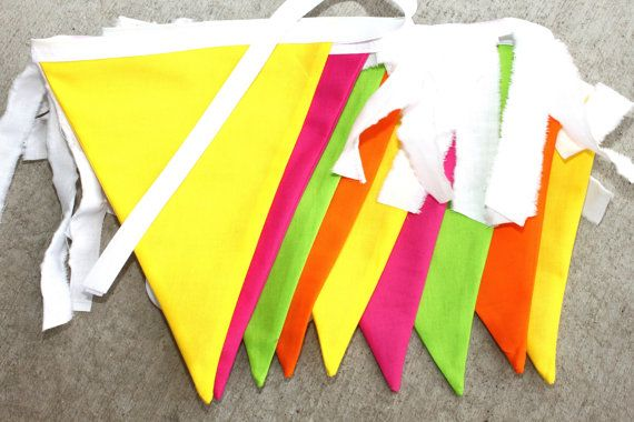 Large Fabric Bunting  Neon Splash by SugarOwlDesign on Etsy, $32.00