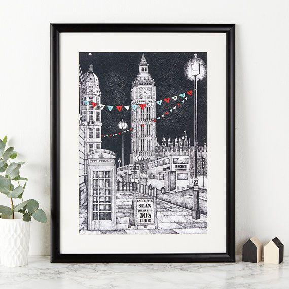 Custom Big Ben Print - London Illustration - London Art - London Print - Drawing of London