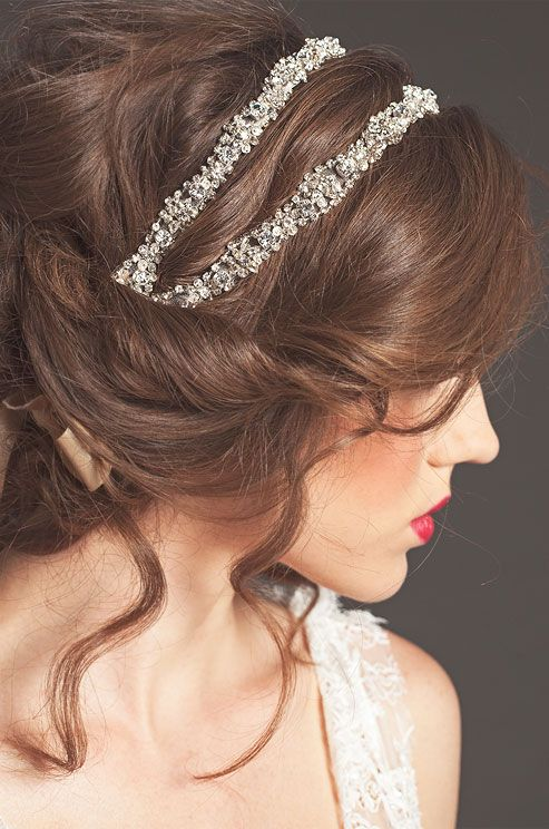 Bridal beaded headband ... wedding accessories ... brides hair ... beauty ... rustic chic ... elegant updo ... Sarah Seven, Fall 2013