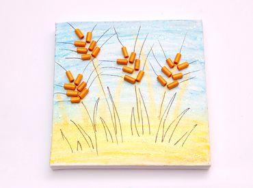 עבודות יצירה צעד אחר צעד - יצירות לפי נושאים - חגים ומועדים - שבועות - תמונת שיבולים - יצירה לילדים יצירות לילדים עבודות יצירה לקיץ