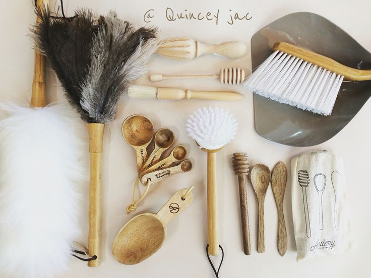 Make cleaning look beautiful #wool #ostrichfeather #wood #natural #kitchen #homewares #quinceyjac