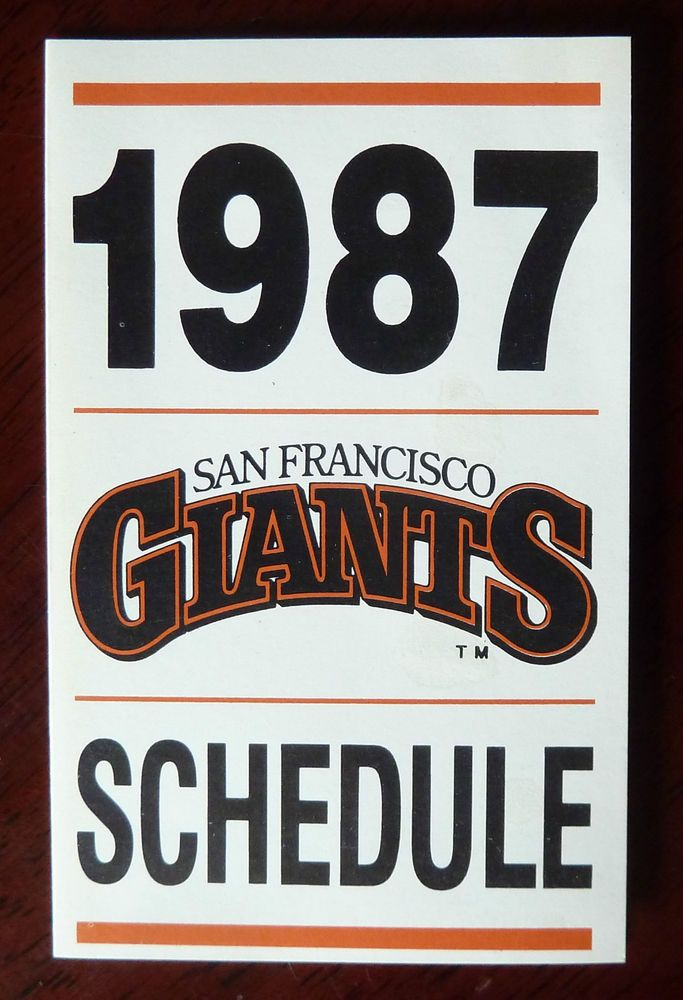 1987 MLB San Francisco Giants Baseball Schedule / '87 Season Full Calendar #sfgiants