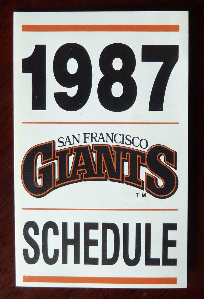 1987 MLB San Francisco Giants Baseball Schedule / '87 Season Full Calendar #sfgiants