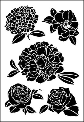 Large Flowers only stencil from The Stencil Library online catalogue. Buy stencils online. Stencil code 355.