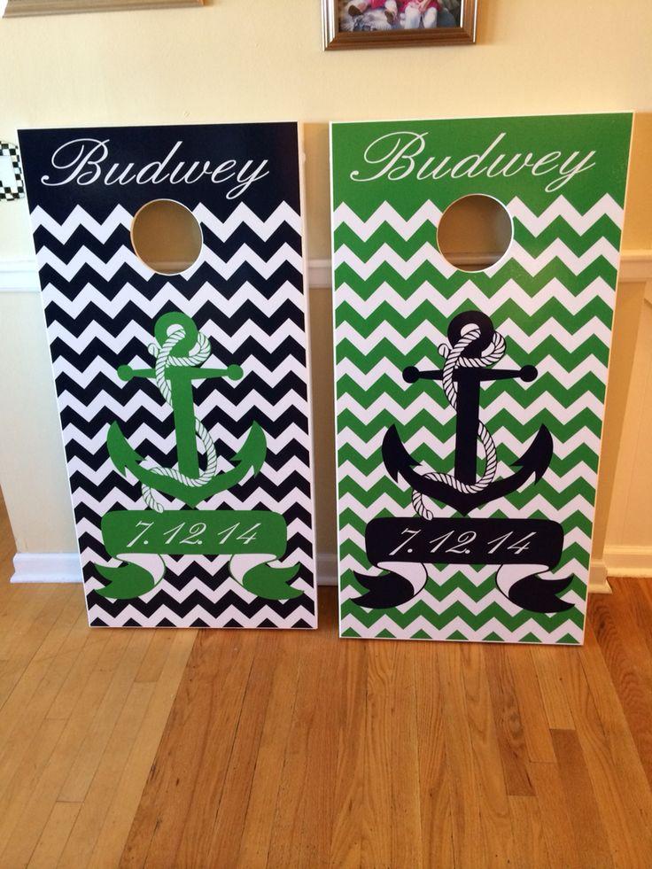 Nautical chevron custom cornhole boards.  Great wedding present!  www.danscustomgames.com