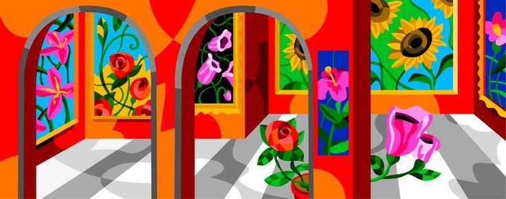 Ugo Nespolo, Museo Fiori Rosso, Serigrafia, Glitter, 180x80 cm